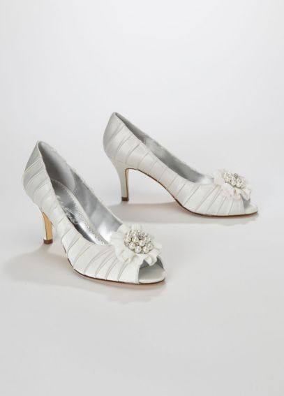 Charmeuse Pleated Peep Toe with Pearl Cluster PRISCILLA