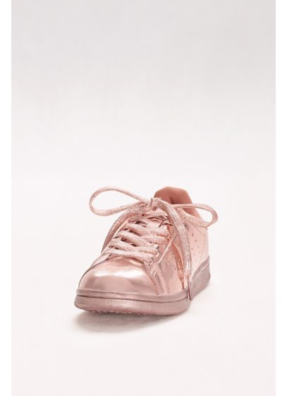 Qupid Pink (Metallic Lace-Up Sneakers)