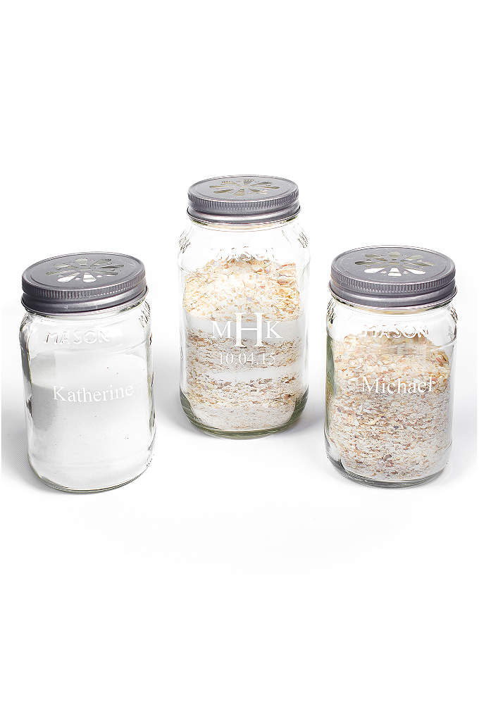 Personalized Mason Jar Sand Ceremony Set - A beautifully rustic compliment to any wedding ceremony,