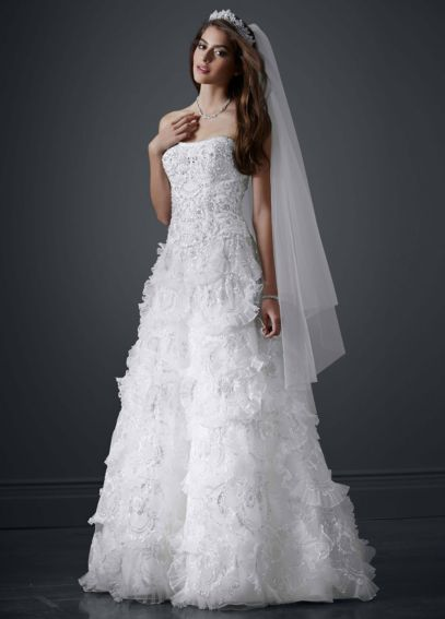Beaded Wedding Gown with Tiered Scallop Skirt PWG3511