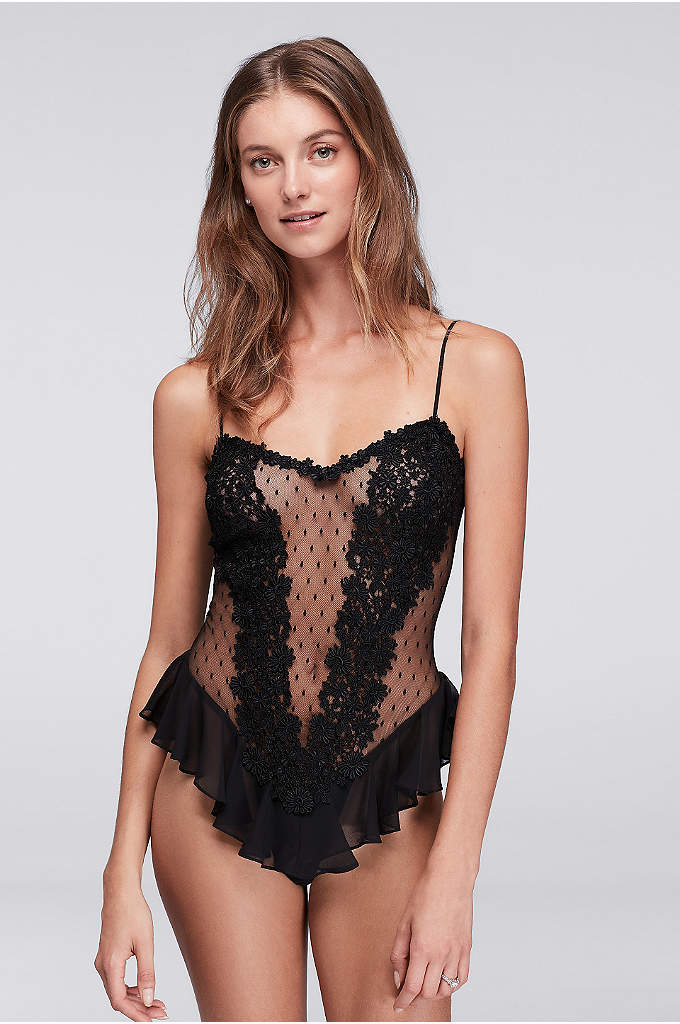 Flora Nikrooz Showstopper Teddy - This sheer, dotted mesh teddy features a demure