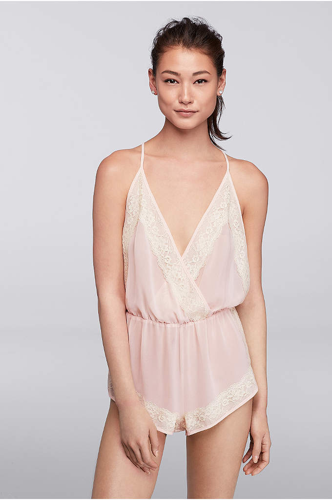Flora Nikrooz Ella Chiffon Romper - Made of delicate chiffon and trimmed in lace,