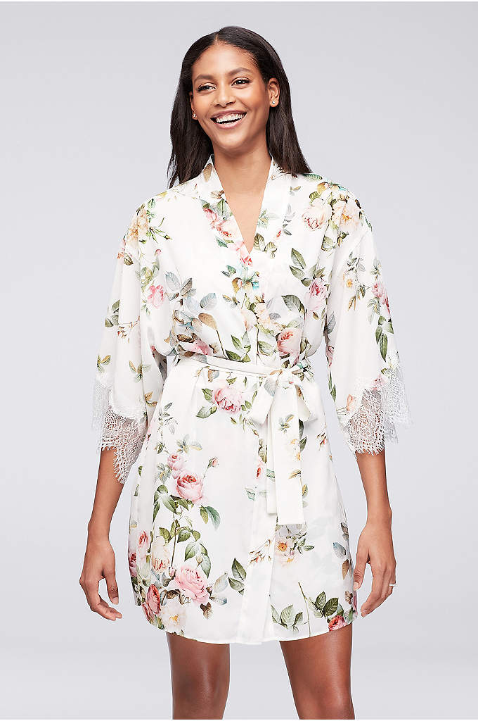 Flora Nikrooz Abigail Robe - Trimmed in eyelash lace, this chiffon kimono robe