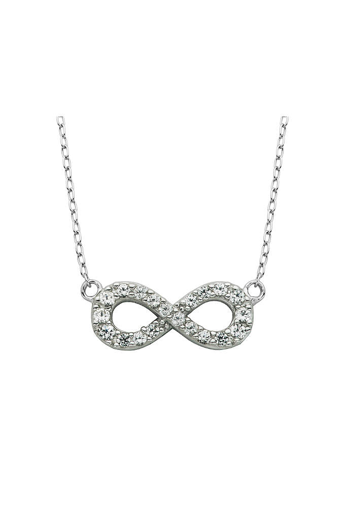White Sapphire Infinity Necklace - The infinity symbol, encrusted with pave white sapphires,