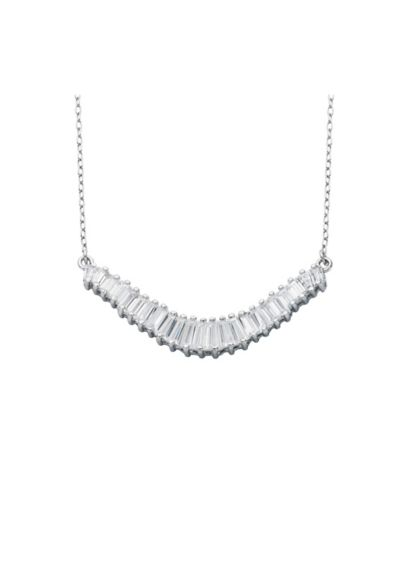 Sterling Silver Tapered Baguette Necklace - Wedding Accessories