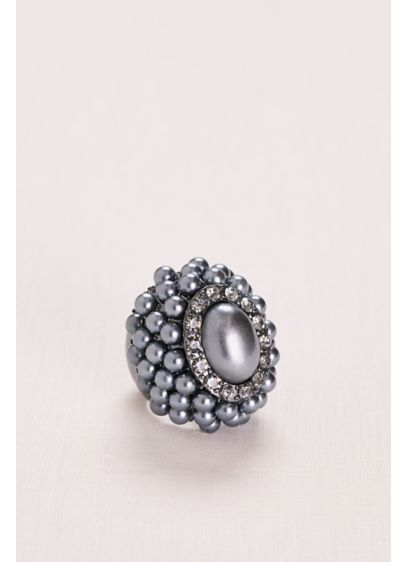 Midnight Pearl and Pave Cluster Ring - Wedding Accessories