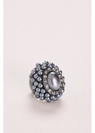 Midnight Pearl and Pave Cluster Ring R15120806A