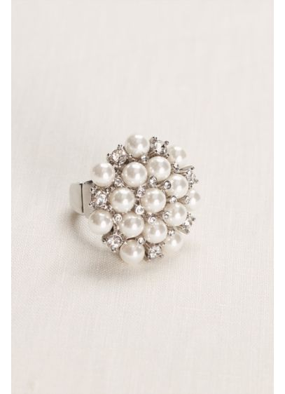 Pearl and Crystal Cluster Ring - Wedding Accessories