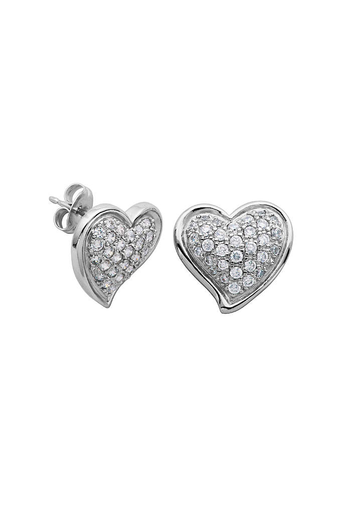 Sterling Silver and Cubic Zirconia Heart Studs - Curvy sterling silver heart earrings glimmer with a