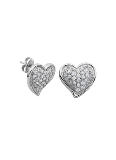 Sterling Silver and Cubic Zirconia Heart Studs - Wedding Accessories