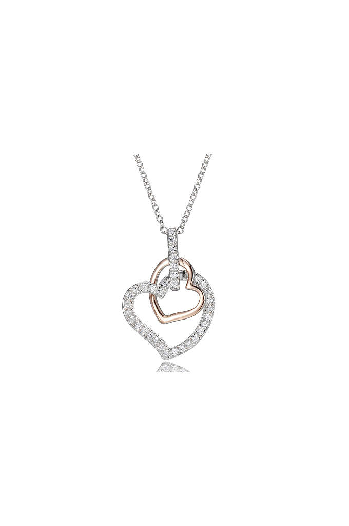 Double Rose Gold and Cubic Zirconia Heart Necklace - A pair of hearts, one in rose gold