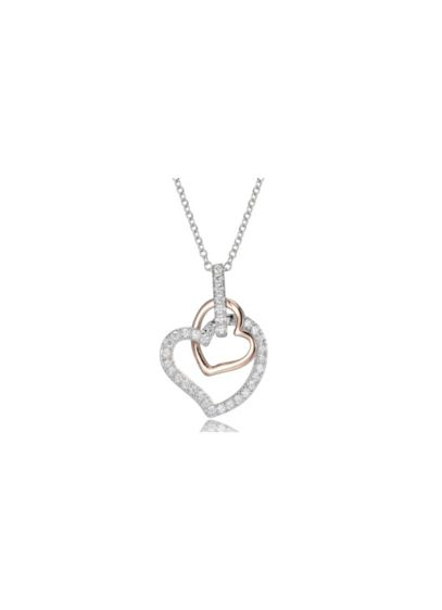 Double Rose Gold and Cubic Zirconia Heart Necklace - Wedding Accessories