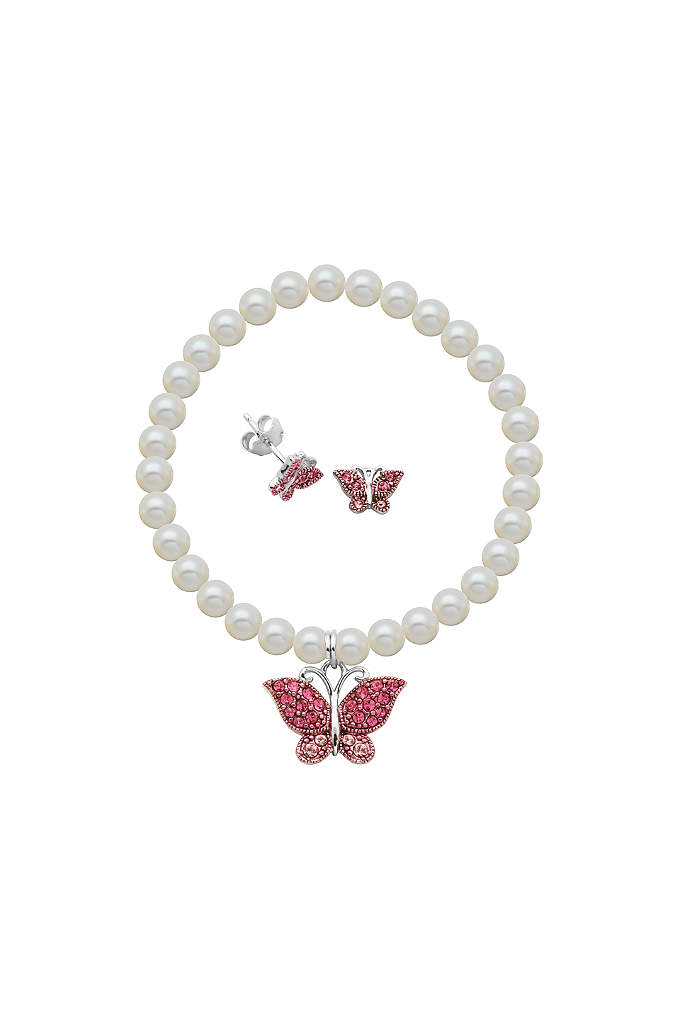 Crystal Butterfly and Pearl Bracelet and Earrings - This sweet set, comprised of crystal-studded butterfly earrings