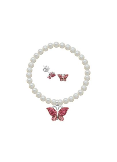Crystal Butterfly and Pearl Bracelet and Earrings - Wedding Accessories
