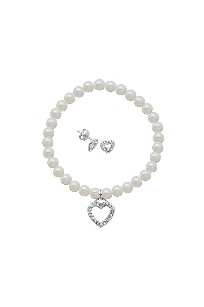Crystal Heart and Pearl Bracelet and Earrings Set - This sweet set, comprised of crystal heart earrings