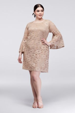 Bell sleeve plus size lace sheath dress david 39 s bridal for Plus size sheath wedding dress