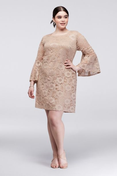 Bell Sleeve Plus Size Lace Sheath Dress | David's Bridal