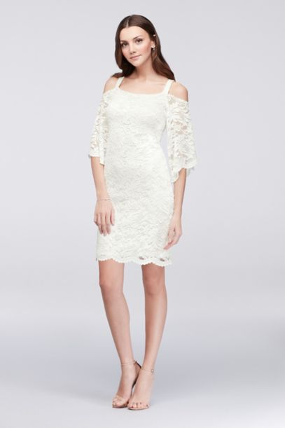 Cold-Shoulder Lace Sheath Dress | David's Bridal