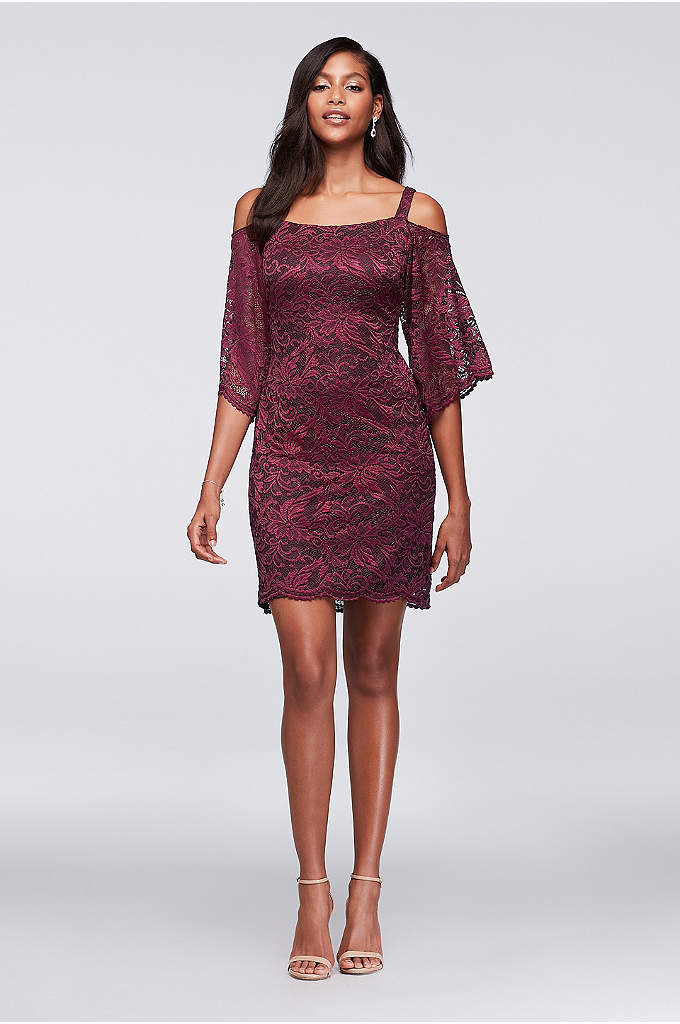 Cold-Shoulder Lace Sheath Dress - A chic mix of classic and current, this