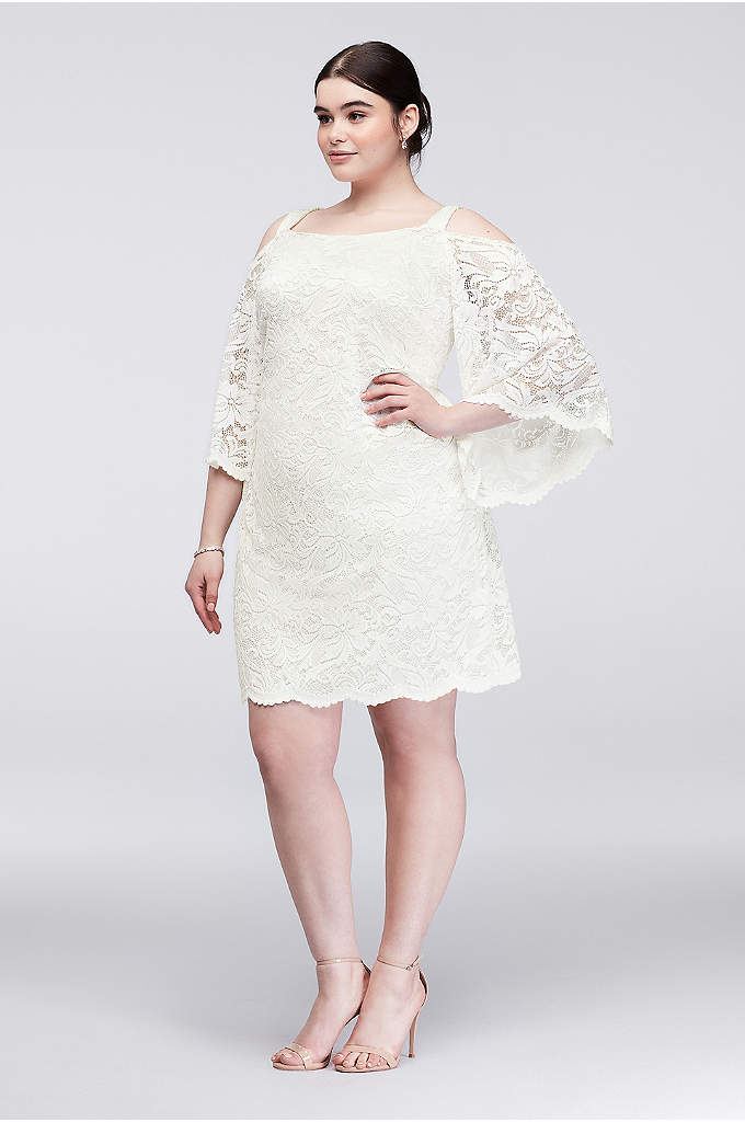 Cold-Shoulder Lace Plus Size Sheath Dress - A chic mix of classic and current, this