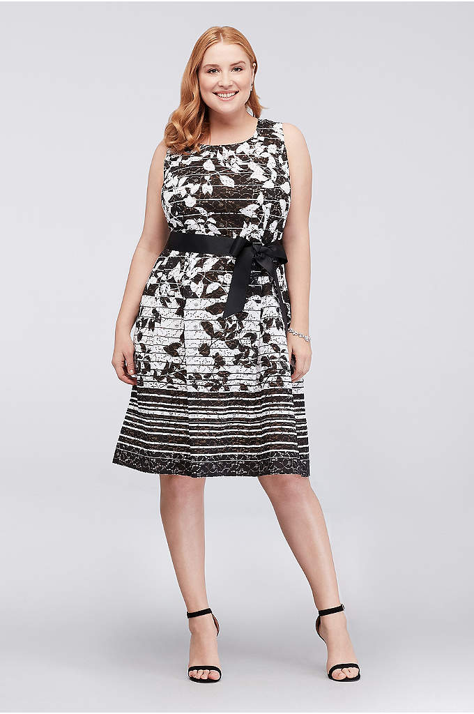 Floral Striped Ombre Lace Plus Size Dress - Stripes of alternating widths add interest to the