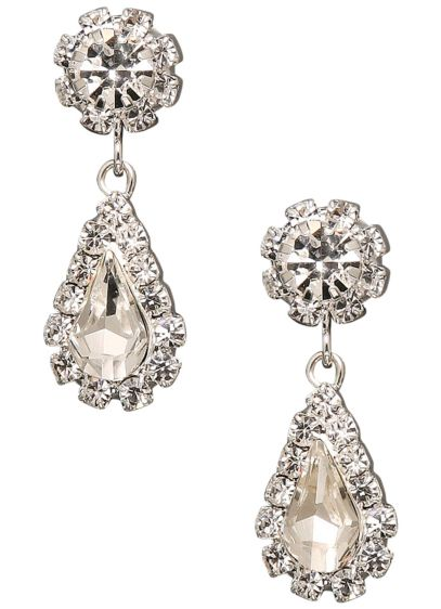 Flower and Teardrop Dangle Earrings - Wedding Accessories