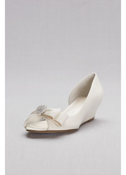 David's Bridal Grey (Bow-Embellished Satin D'Orsay Wedges)