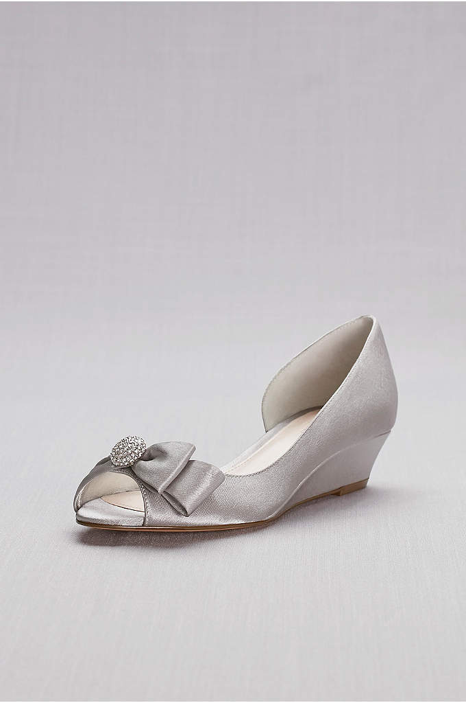 Bow-Embellished Satin D'Orsay Wedges - A classic pair of satin wedges, adorned with