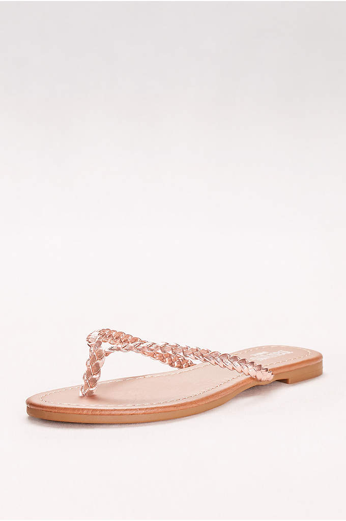 Metallic Braided Flip-Flops - Classic braided flip-flops get a modern update in
