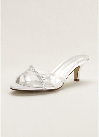 David's Bridal White (Embellished Dyeable Low Heel Sandal)