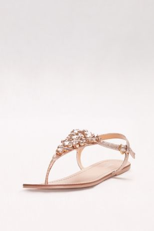 Jeweled Metallic Ankle Strap Thong Sandals