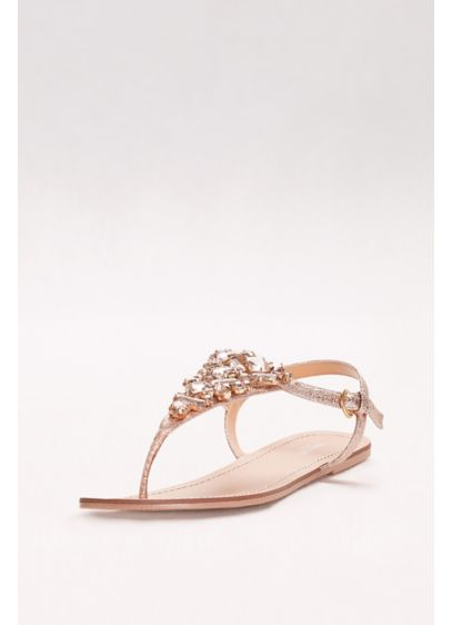 David's Bridal Pink (Jeweled Metallic Ankle-Strap Thong Sandals)
