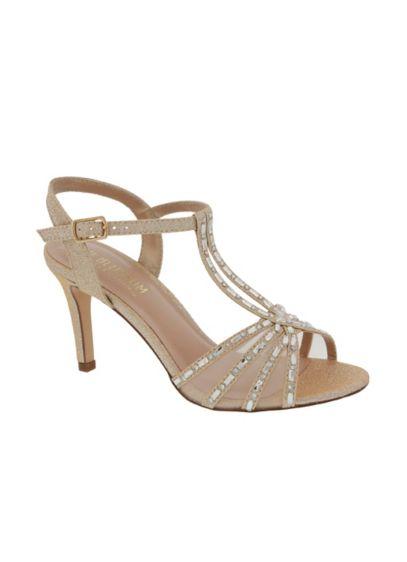 Blossom Beige (Crystal-Embellished Mesh Double T-Strap Heels)