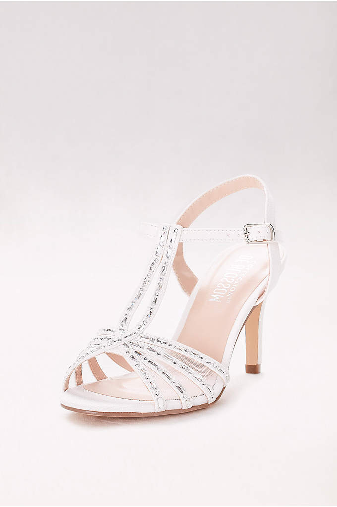 Crystal-Embellished Mesh Double T-Strap Heels - A double T-strap looks twice as nice when