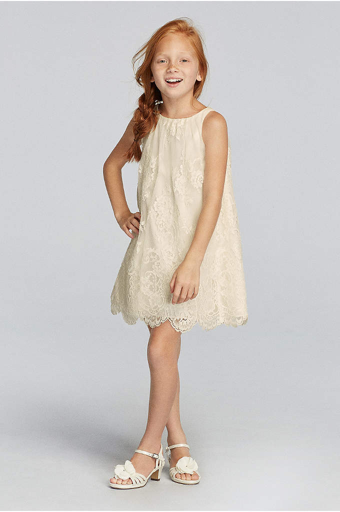 Sleeveless All Over Lace Dress with Scalloped Hem - This darling softly textured lace sleeveless dress will