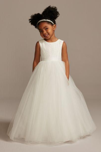 Ball Gown Flower Girl Dress with Heart Cutout | David's Bridal