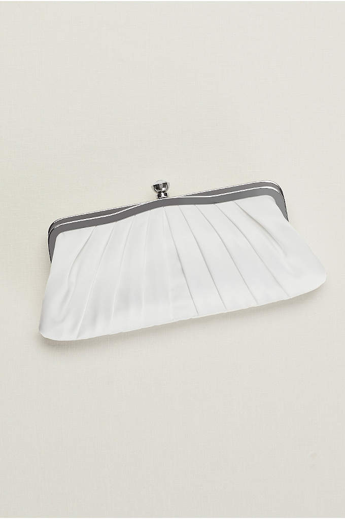 Vintage-Inspired Pleated Satin Clutch - An elegant sheen makes this vintage-inspired pleated clutch