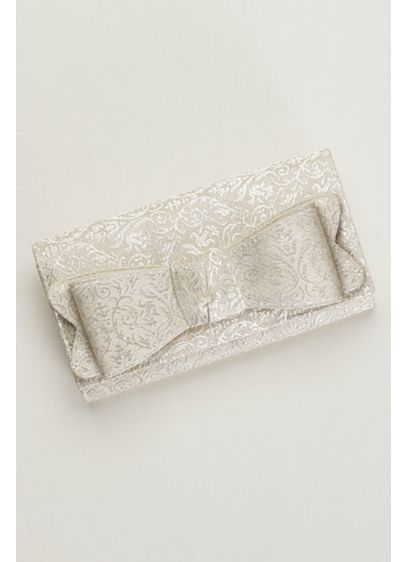 Metallic Brocade Bow Clutch - Wedding Accessories