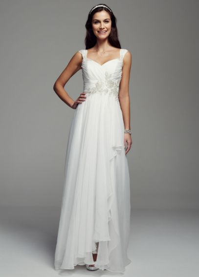 Cap Sleeve Chiffon A-line Beaded Gown RL3675