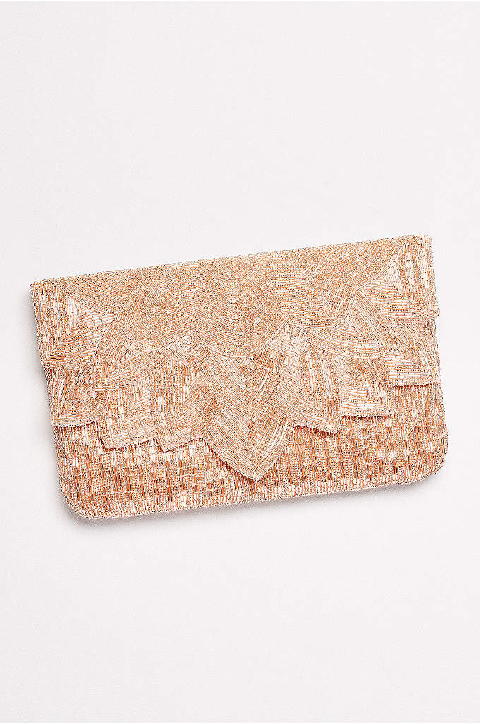 Allover Seed Bead Clutch with Scalloped Flap - A beautifully leafy scalloped detail finishes the edge