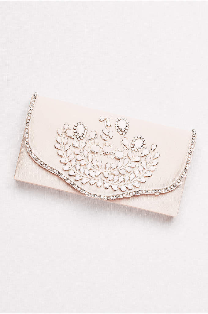 Hard-Sided Satin Clutch with White Beading - The retro-inspired white beading on this pale satin
