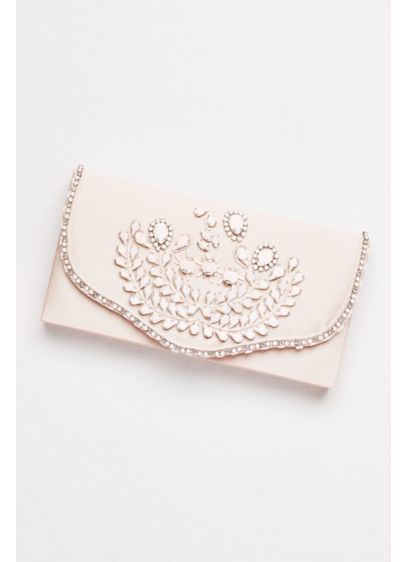 Hard-Sided Satin Clutch with White Beading - Wedding Accessories