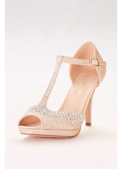 Blossom Beige (Crystal-Embellished Peep-Toe T-Strap Heels)