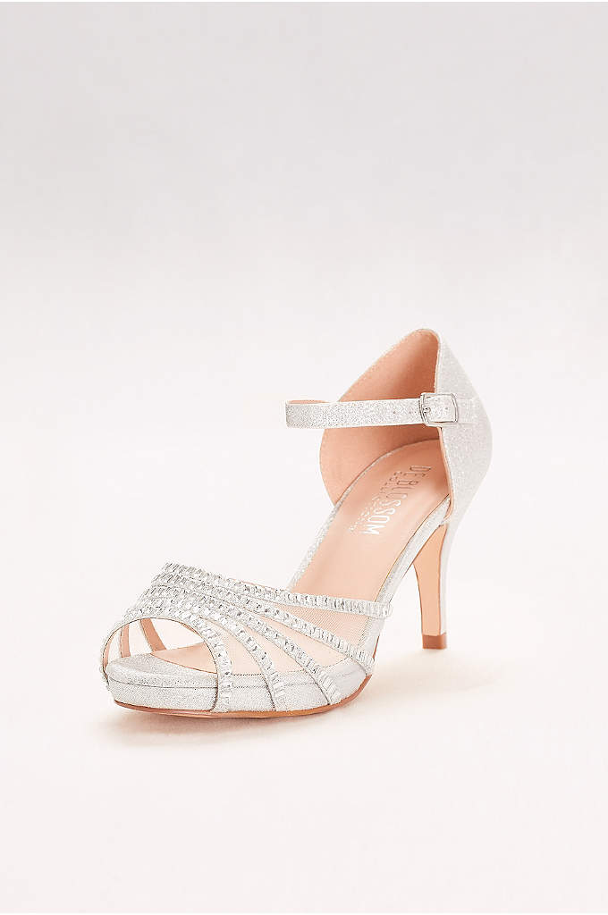 Crystal-Embellished Strappy Mesh Heels - This crystal-embellished mid-heel pair combines walkable (and danceable!)