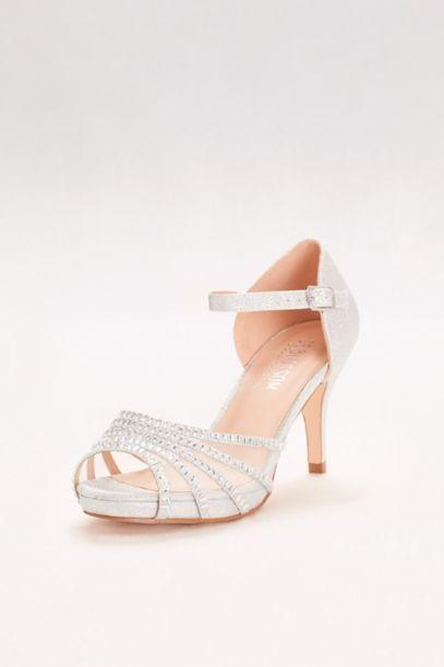Crystal-Embellished Strappy Mesh Heels | David's Bridal