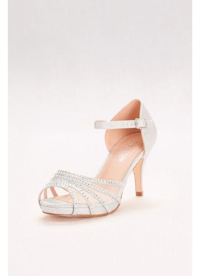 Blossom Grey (Crystal-Embellished Strappy Mesh Heels)