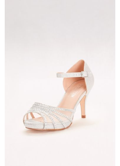 Crystal-Embellished Strappy Mesh Heels | David's Bridal