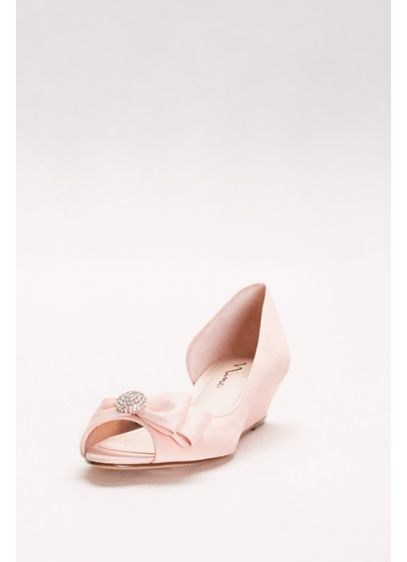 Touch of Nina Ivory (Satin D'Orsay Wedges with Embellished Bow)
