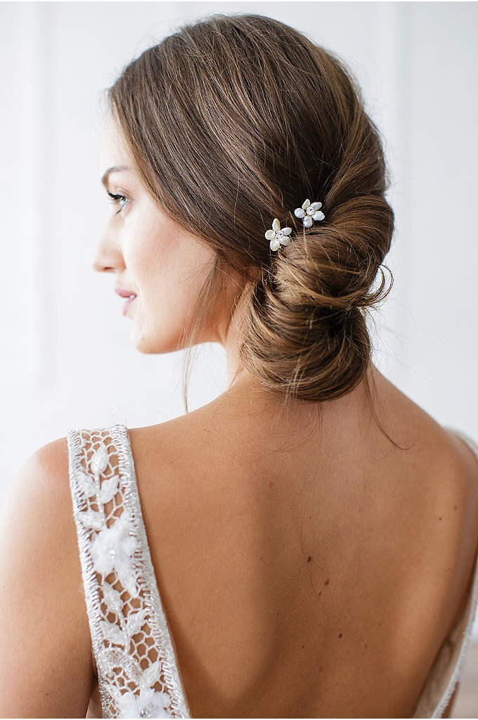 Hand-Wired Floral Pearl and Crystal Hairpin Set - This hand-wired freshwater pearl and marquise-cut crystal set