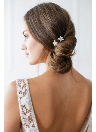 Hand-Wired Floral Pearl and Crystal Hairpin Set - Wedding Accessories